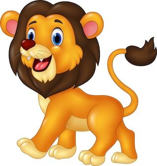 Adorable lion cartoon walking isolated on white background
