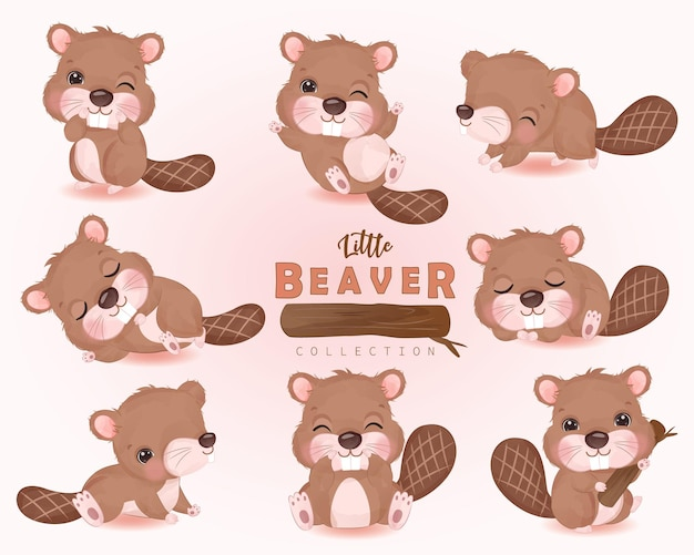 Adorable little beaver clipart collection in watercolor illustration