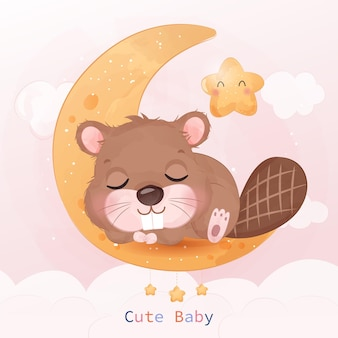 Adorable little beaver sleeping in watercolor illustration