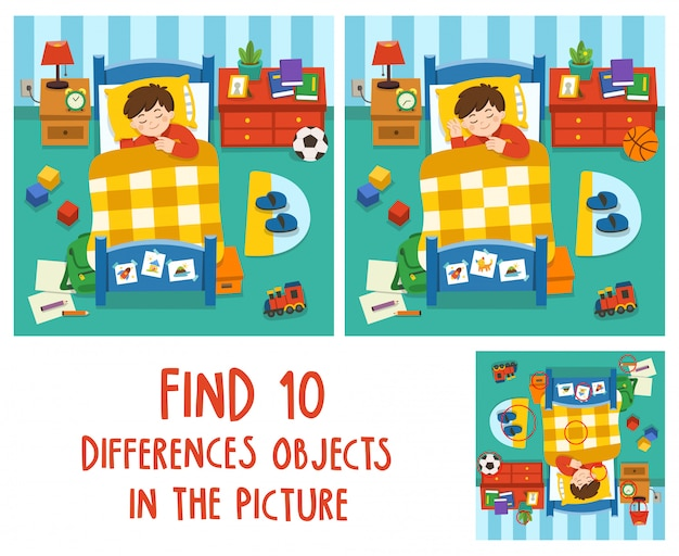 Прелестный маленький мальчик спит в постели, спокойной ночи и сладких снов. найдите 10 отличий объектов на картинке. развивающая игра для детей.