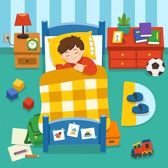 Прелестный маленький мальчик спит в постели, спокойной ночи и сладких снов. спокойный сон, тихая звездная ночь. иллюстрации.
