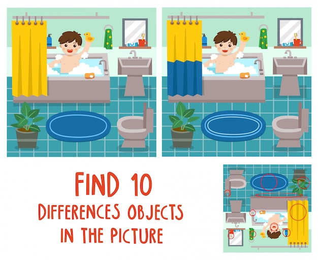 Прелестный маленький мальчик, принимая ванну в ванне с большим количеством мыльной пены и резиновой уткой. найдите 10 отличий объектов на картинке. развивающая игра для детей.