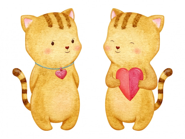 Adorable little brown cat with heart. romantic character illustration in watercolor