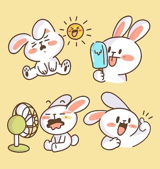 Adorable little bunny rabbit doodle illustration collection. best for print, digital asset, avatar