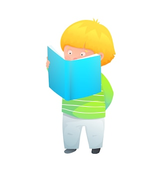 Adorable little child standing reading amusing book or doing homework. illustration watercolor style.