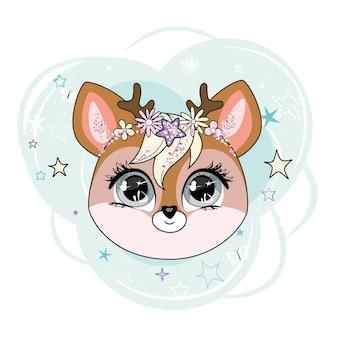 장식 요소와 배경 위에 사랑스러운 작은 사슴 캐릭터 머리.