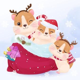 Adorable little hamsters for christmas illustration