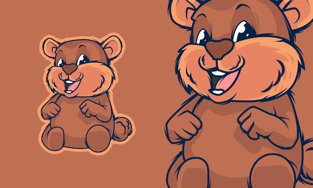 愛らしい小さなクマの漫画のマスコットのベクトル図