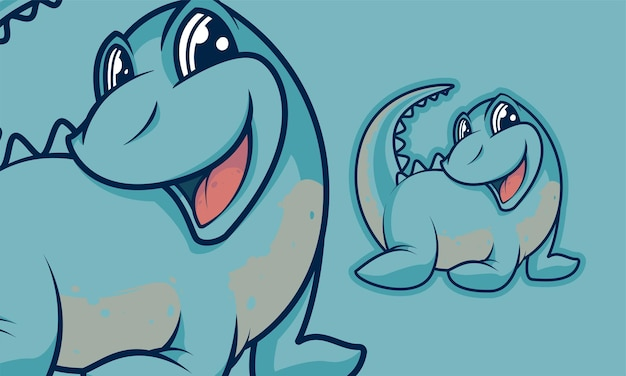 사랑스러운 작은 공룡 만화 마스코트 벡터 일러스트 레이 션