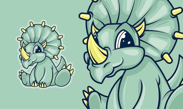 사랑스러운 작은 트리케라톱스 공룡 만화 마스코트 벡터 일러스트 레이 션