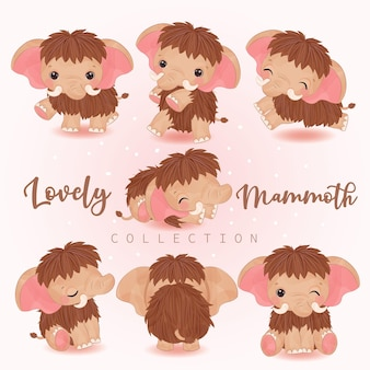 Adorable little mammoth clipart collection in watercolor illustration