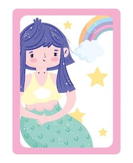 愛らしい小さな人魚の虹の星と雲の装飾漫画