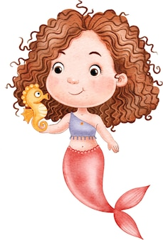 Adorable little mermaid with curly hair and seahorse isolated on white background