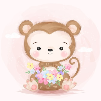 Adorable little monkey illustration