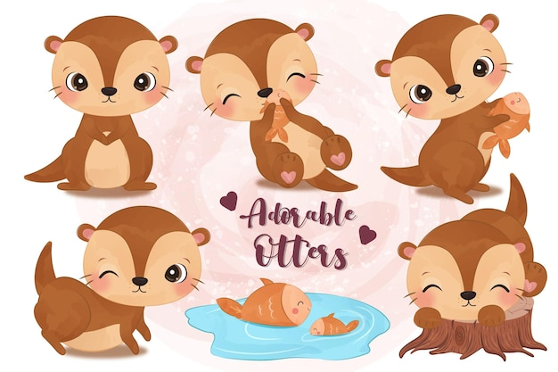 Adorable little otters illustration set in watercolor