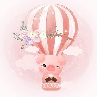 수채화 효과에 사랑스러운 작은 돼지 그림