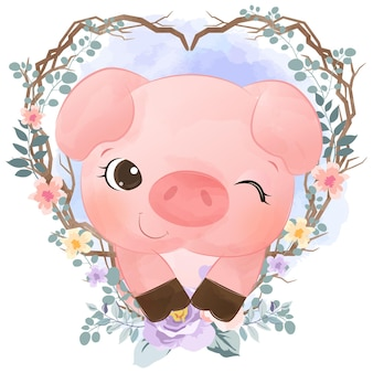Adorable little pig in watercolor style for nursery decoration