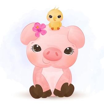 愛らしい子豚の水彩画
