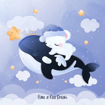 Adorable little polar bear and cute orca whale flying in the night sky