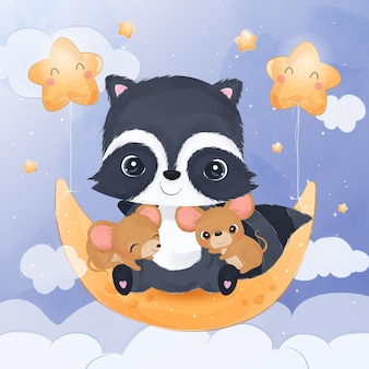 Adorable little raccoon and mice playing together