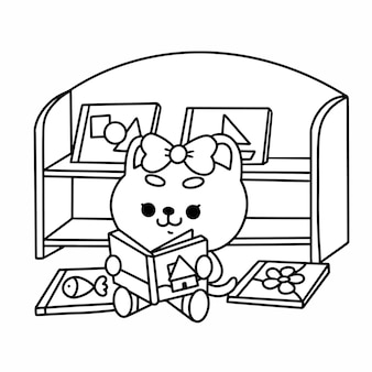 Adorable little teddy reading book premium coloring page