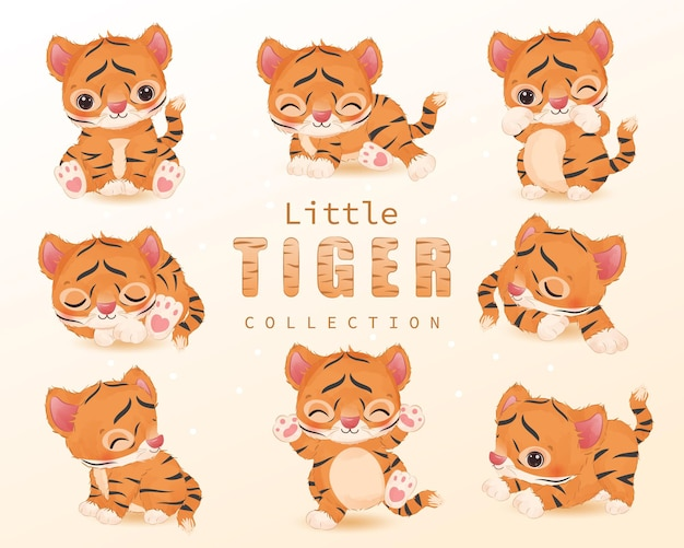 Adorable little tiger clipart collection in watercolor illustration