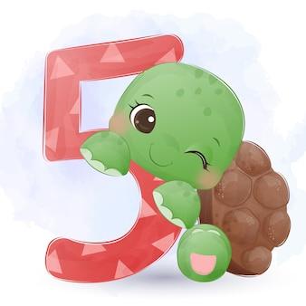 Очаровательная маленькая черепаха акварель