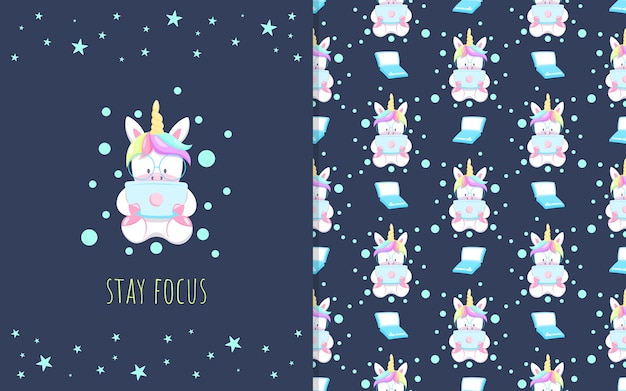 Adorable little unicorn cartoon with laptop, illustration and seamless pattern