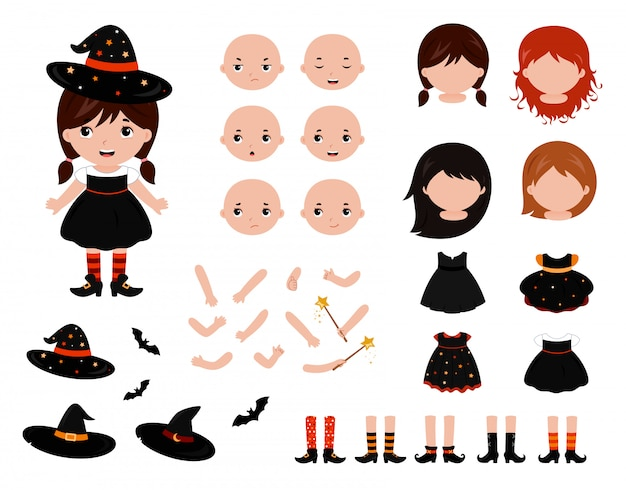 Adorable little witch paper doll set