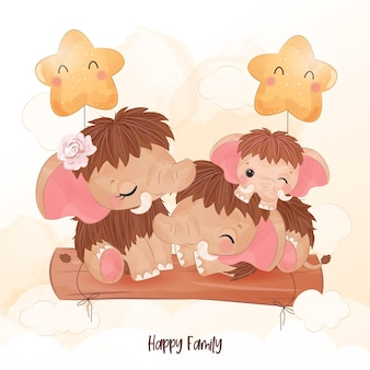 Adorable mammoth family in watercolor illustration