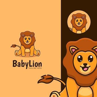 愛らしいマスコット漫画赤ちゃんライオン座っているテンプレート