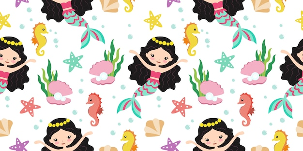 Adorable mermaid seamless pattern