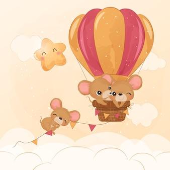 水彩イラストで気球で飛んでいる愛らしいマウス