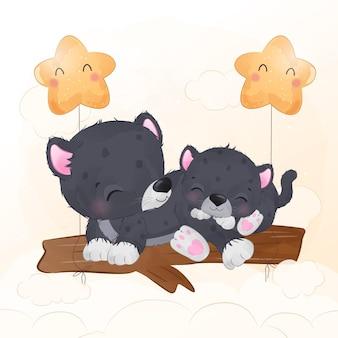 Adorable mom and baby black phanter illustration