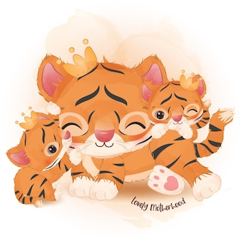 Adorable mom and baby tiger in watercolor illustration