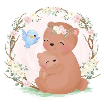 수채화에 사랑스러운 엄마와 아기 곰