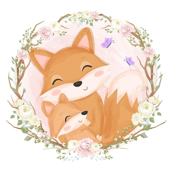 愛らしいママと赤ちゃんキツネの水彩イラスト
