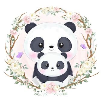 수채화 그림에서 사랑스러운 엄마와 아기 팬더