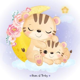 水彩で愛らしいママと赤ちゃんトラのイラスト