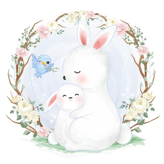 Adorable mommy and baby rabbit in watercolor illustration