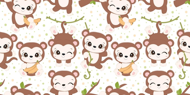 Adorable monkey pattern for children fabric wallpaper and many more