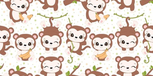 어린이 패브릭 벽지 등을 위한 사랑스러운 원숭이 패턴