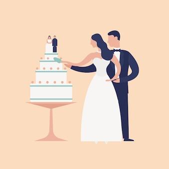 明るい背景で隔離のトッパーでケーキを切る愛らしい新婚夫婦。かわいいロマンチックな夫婦。結婚式の日のお祝いパーティーで新郎新婦。現代のフラット漫画ベクトルイラスト。