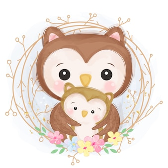 Adorable owl motherhood illustration