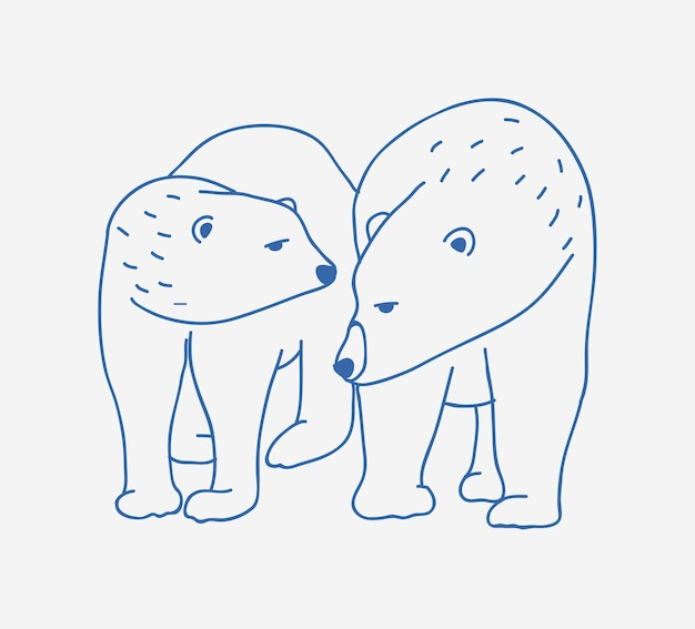Adorable pair of polar bears hand drawn with contour lines