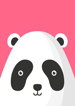 Adorable panda bear snout flat vector illustration. cute wildlife jungle animal muzzle cartoon colorful background. close up panda head, face decorative backdrop. childish zoo card design idea.