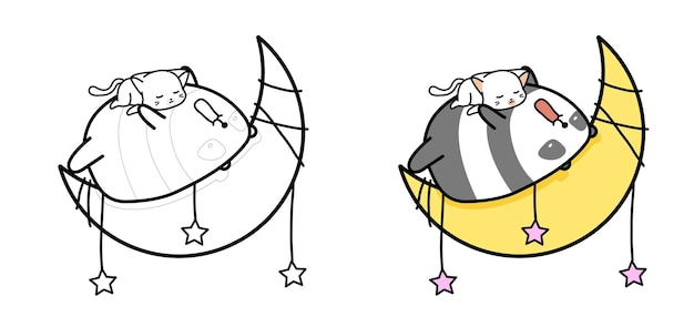 Adorable panda and cat are sleeping on the moon cartoon coloring page for kids