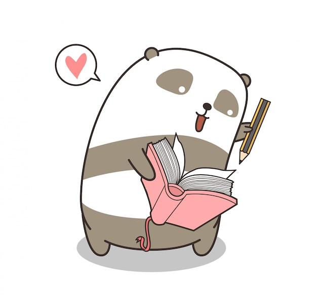 Adorable panda character is writting