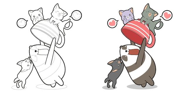 Adorable panda is enjoying with cats cartoon coloring page for kids