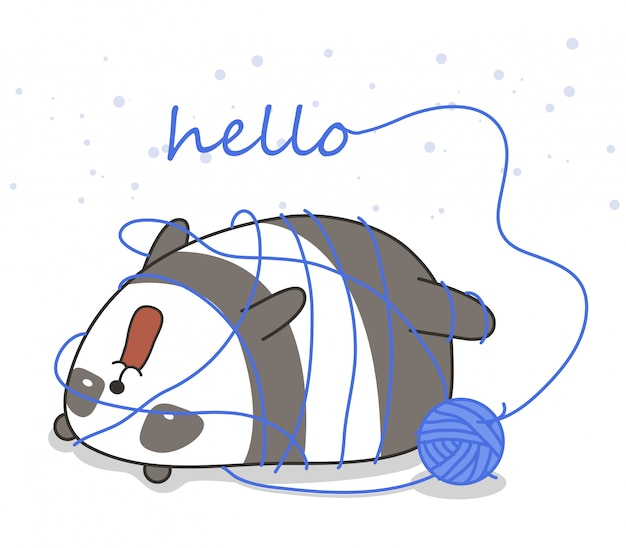 Adorable panda with a yarn